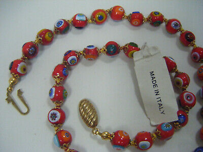 BEAUTIFUL~ MURANO Art Glass Beaded Necklace  MADE IN ITALY!