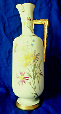 Royal Worcester Blush Ivory Long Ewer # 1297 Hand Painted c.1891 Expert Repair