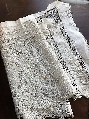 "Beautiful Antique French Chateau Ctn Handmade Curtain Lace Panel Trim 50""x 10"""