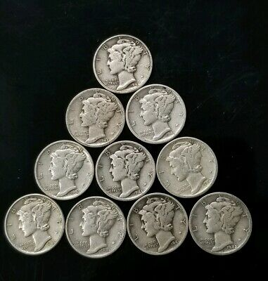 1940's Mercury Dimes Lot of 10 - 90% Silver - US Coins [SC8150]