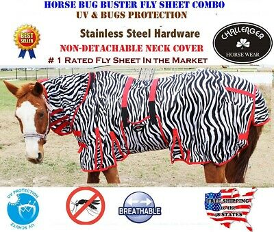 Horse Bug Mosquito Fly Sheet Summer Spring Airflow Mesh UV Neck 73135