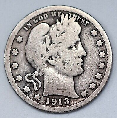 1913 25c  BARBER OR LIBERTY HEAD QUARTER 90% SILVER LOW MINTAGE  NICE CONDITION