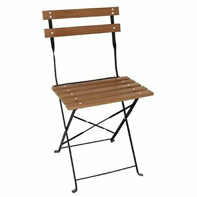 Bolero Faux Wood Bistro Folding Chairs with Steel Frame 48cm in Height Pack of 2