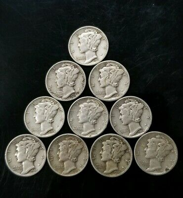 1940's Mercury Dimes Lot of 10 - 90% Silver - US Coins [SC8155]