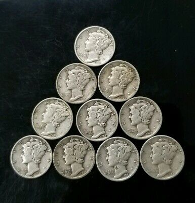 1940's Mercury Dimes Lot of 10 - 90% Silver - US Coins [SC8158]