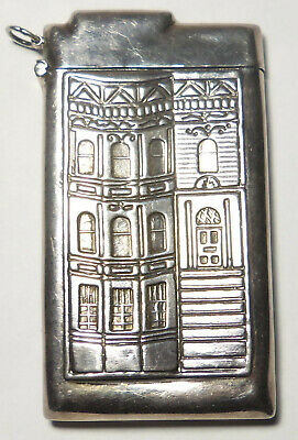 Sterling Silver Card Case EMBOSSED SAN FRANCISCO HOUSE Chatelaine 39g by REO