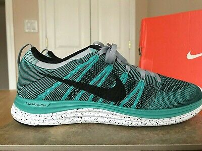 4c6536ce5fd72 Nike 2012 Flyknit One + Men s Shoes 554887 301 Size 10 Turquoise Wolf Grey  Black