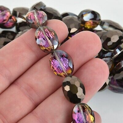 16mm BLACK VITRAIL OVAL Faceted Crystal Glass Beads, strand, 16 beads, bgl1842