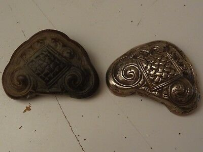 Antique Mongolian Hand Hammered  Pair Of Brass Copper Saddle Ornaments