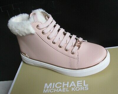 0b316f810f51 NIB Michael Kors Girl s ZIA IVY Veera Hi-Top Sneaker Trainer Shoes Pink Fur  Gold