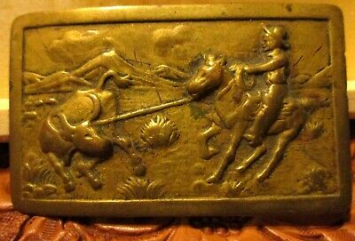 VERY OLD RARE Vintage Western Bronze Belt Buckle Old Style Cowboy Roping a Bull