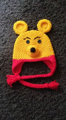 Winnie the Poo Inspired crochet braided hat prop  2-3 yrs