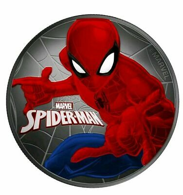 "2017 Tuvalu ""SPIDERMAN"" Colorized/Ruthenium 1oz .999 Silver Coin - Box and COA"