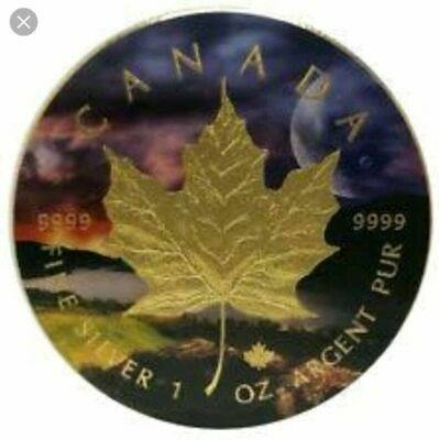 """2017 CANADIAN MAPLE """"PARADOX"""" COLORIZED/24K GOLD GILDED 1oz .999 Silver Coin BU"""