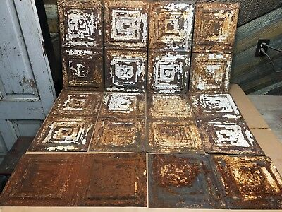 "10pc Lot of 24"" by 12"" Antique Ceiling Tin Vintage Reclaimed Salvage Art Craft"
