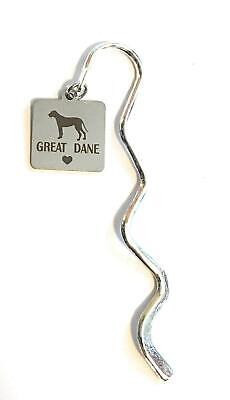 Great Dane Dog Puppy Stainless Steel Charm Mini Bookmark in Gift Bag
