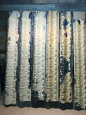 """6pc Lot of 48"""" by 7"""" Antique Ceiling Tin Vintage Reclaimed Salvage Art Craft"""