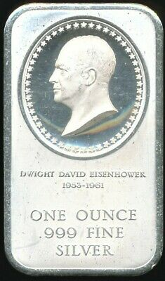 Vintage 1976 Eisenhower 1 Troy Oz. .999 Fine Proof-Like Bullion Silver Art Bar