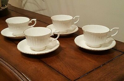 Set of 4 Royal Standard Tea Cups and Saucers White w/Gold Trim