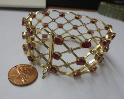 "14KT Yellow Gold Large 14+ cttw Natural Ruby/Diamond Bracelet 7.25"" length"