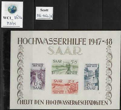 WC1_1634 GERMANY. SAAR. Rare 1948 FLOOD RELIEF souv. sheet. Scott B61-B64. MNH