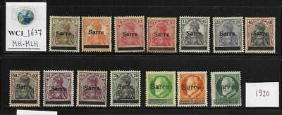 WC1_1637 GERMANY. SAAR. Useful lot of 1920 stamps.  MH-MLH
