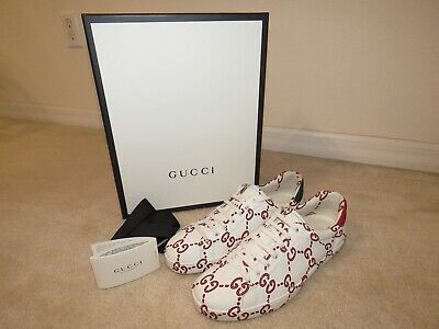 4fb898fa32b Gucci Gg Monogram Ghost Print Ace Sneakers 497094 Red White Green Men s 10  Us