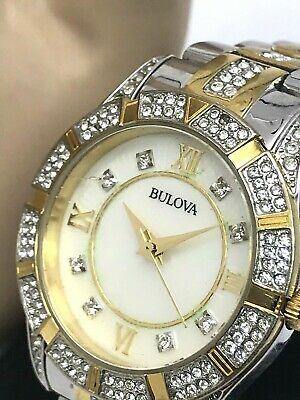 Bulova 98L135 Two Tone Stainless Steel Crystal Accent MOP Dial Womens Watch USED
