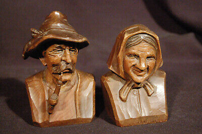 VTG Pair of Man & Woman ANRI Black Forest Style European Carved Busts