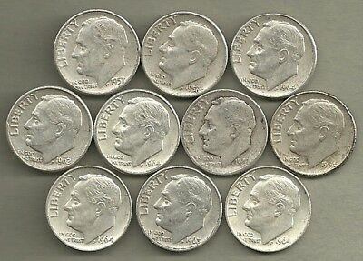 Roosevelt Dimes - US 90% Silver Coin Lot - 10 Circulated Coins #4155