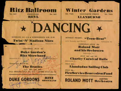 Beatles FULL BAND UK CONCERT HANDBILL SIGNED BY ALL FOUR MEMBERS FROM 1963 !