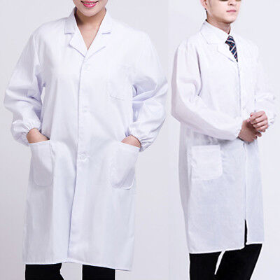 Lab Coat Doctor White Unisex Medical Long Men Jacket Women Nurse Uniform Premium