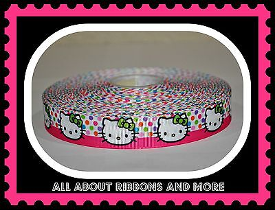 7/8 Inch Hello Kitty Polka Dots With Hot Pink Stripe Grosgrain Ribbon-1  Yd