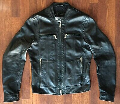 41dba19cc DSQUARED2 LAMB LEATHER Runway Moto Jacket Black Mens 48 Eu 38 Us Euc
