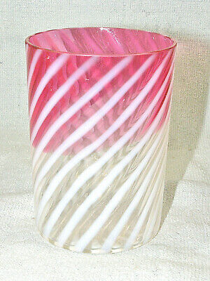 Scarce Antique Northwood White Opalescent Swirl RUBINA Tumbler