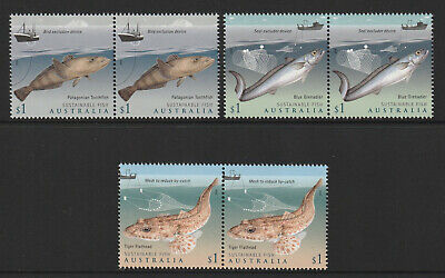 Australia 2019 : Sustainable Fish Stamps x 3, $1.00 pairs, Mint Never Hinged