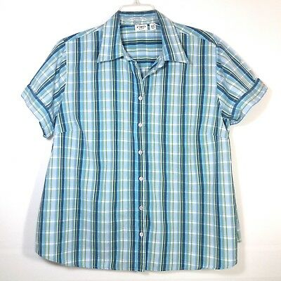 Cato Womens Size 18/20W Blouse Shirt Button Front Short Sleeve Plaid