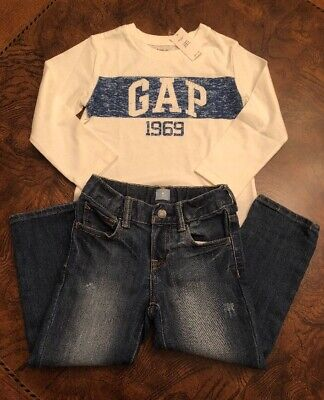 NWT Baby Gap Boy's T-Shirt/Logo Cotton And Straight Cut Jeans Outfit 3T.
