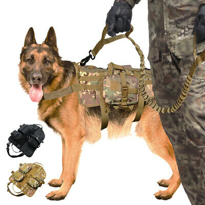 K9 Dog Tactical Vest Leash Molle Canine Harness Hunting Training Military Large