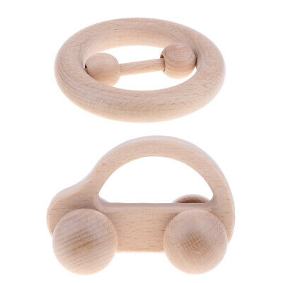 2pcs Teether Wooden Toy Baby Teething Organic Natural Rattle Car & Ring Toys