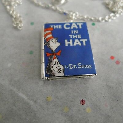 Dr. Seuss' The Cat in the Hat book LOCKET Silver Plated necklace