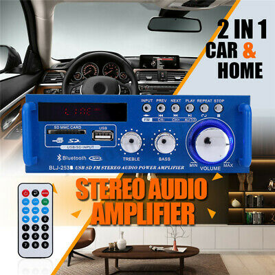 600W Mini 2CH HiFi Digital Audio Stereo Amplifier Bass FM Radio Car Home