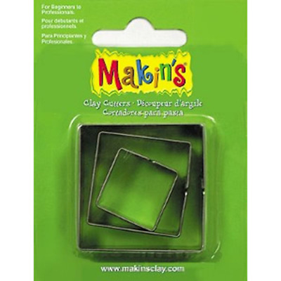 Makins Clay & Cookie Cutters -SQUARE SHAPE (Set of 3) cake Fondant