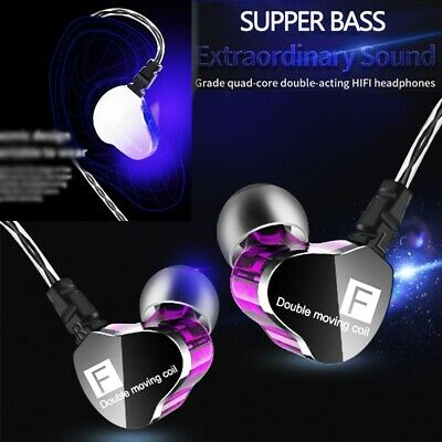 Cool Supper Bass Earphones Dual Dynamic Drive HiFi Headphones In Ear Headset