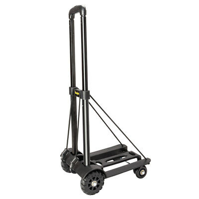 Portable Mini Metal Folding Luggage Cart Push Dolly Hand Truck Trolley w/2 Ropes