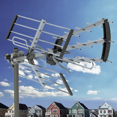 100Mile HDTV 1080P Outdoor Amplified TV Antenna UHF for Digital Signal 10m Cable