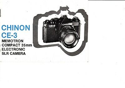Genuine Original Chinon Ce-3 Memotron Camera Manual