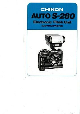 Genuine Original Chinon Camera Auto S280 Flash Unit Manual