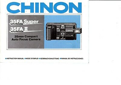 Genuine Original Chinon 35Fa Super Ii Auto Program Camera  Manual