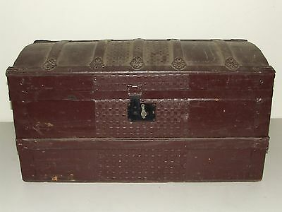 Antique 1800's Painted Victorian Dome Top Steamer Trunk, Rare Small Size